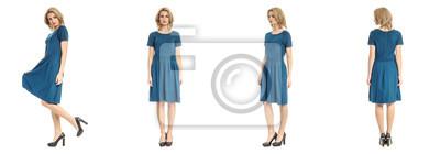 Naklejka Potomstwa modelują moda spojrzenie w turkus sukni odizolowywającej