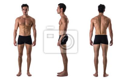 Naklejka Potrójny widok bez shirtless bodybuilder: z tyłu, z przodu, z boku