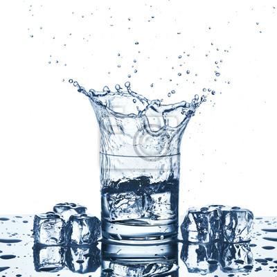 Naklejka powitalny wody w szkle w kolorze niebieskim