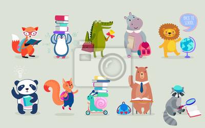 Naklejka Powrót do szkoły Zwierzęta ręcznie rysowane stylu, temat edukacji. Śliczne postacie. Niedźwiedź, pingwin, hipopotam, panda, lis i inni.