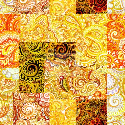 Powtarzanie arabski kwiatowy wzór. Abstrakcyjna Akwarele