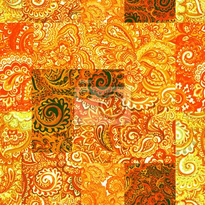 Powtarzanie Indian kwiatowy wzór. Dekoracyjne akwarela