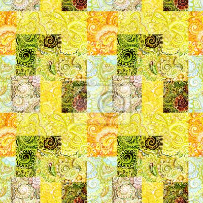 Powtarzanie orientalny kwiatowy wzór. Koronka akwarela