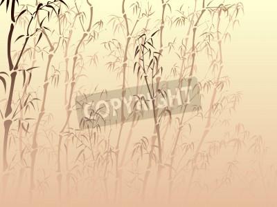 Naklejka Pozioma wektora tle z bambusa drzew z wielu mgły w stylu azjatyckich.