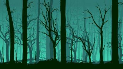 Naklejka Poziome ilustracji sosnowego lasu.