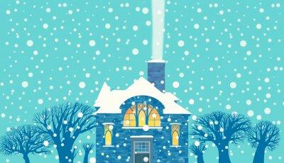 Naklejka Poziome panoramiczny ilustracja domu z oświetlonym oknie