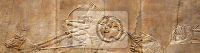 Naklejka Poziomy baner z płaskorzeźbą asyryjską
