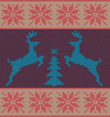 Naklejka Poziomy bezszwowych wzór dzianiny. Renifer skoki choinki i płatki śniegu.