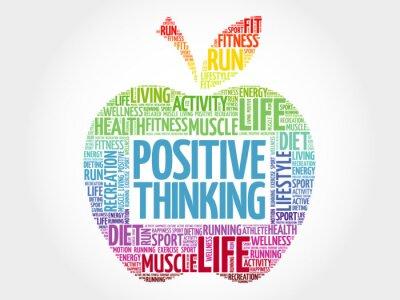 Naklejka Pozytywne myślenie jabłko słowo chmura, koncepcja zdrowia