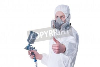 Naklejka Pracownik z pistoletu airbrush dając kciuki do góry, na białym tle