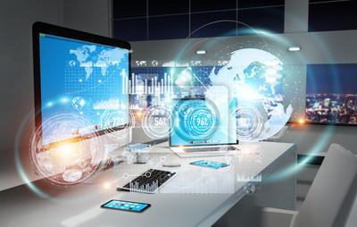 Naklejka Pracy z nowoczesnych urządzeń i hologram ekranów 3D rendering