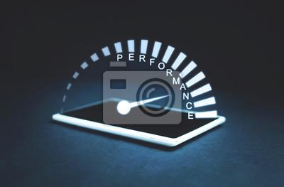 Naklejka Prędkościomierz wydajności na ekranie tabletu. Pomysł na biznes