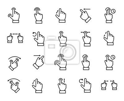 Naklejka Premium zestaw ikon linii gestów.