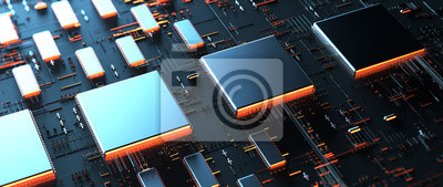 Naklejka Printed circuit board futuristic server/Circuit board futuristic server code processing. Orange,  green, blue technology background with bokeh. 3d rendering