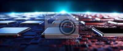 Naklejka Printed circuit board futuristic server/Circuit board futuristic server code processing. Orange,  green, blue technology background with bokeh