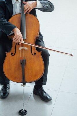 Profesjonalne wiolonczelista odtwarzanie jego instrumentu