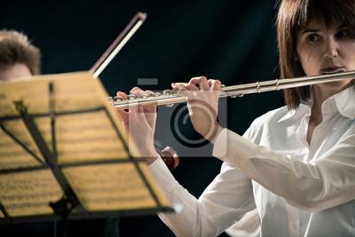 Profesjonalny flecista na scenie