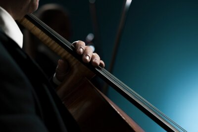 Naklejka Professional cellist performing hands close up