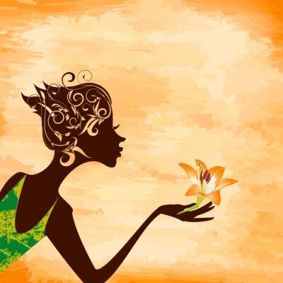 Naklejka Profil Dziewczyna z kwiatem na tle grunge