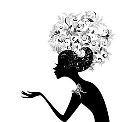 Naklejka Profil dziewczynki z urządzonych włosów