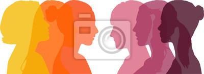 Naklejka Profil sześciu różnych kobiet - ciepły