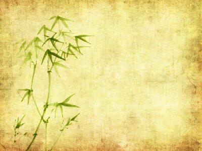 Naklejka projekt chińskich bambusa drzew z teksturą papieru czerpanego