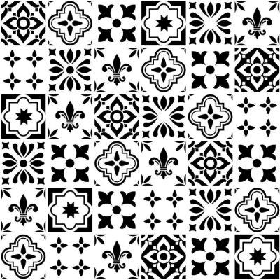 Naklejka Projekt geometryczny wektora płytki, portugalskie lub hiszpańskie bezszwowe czarno-białe płytki, wzór Azulejos
