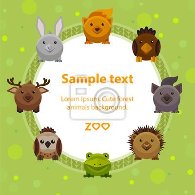 Naklejka Projekt karty Zoo, plakat z cute zwierząt leśnych, styl mieszkania ilustracji wektorowych