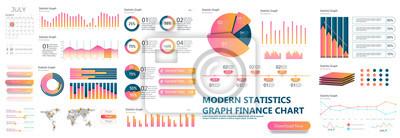 Naklejka Projekt szablonu prezentacji. Wykresy danych biznesowych. Wektorowe wykresy finansowe i marketingowe.
