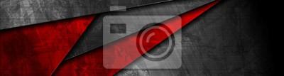 Naklejka Projekt transparentu materiał czerwony i czarny grunge
