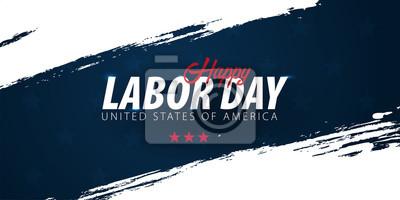 Naklejka Promocja sprzedaży Święta Pracy, reklama, plakat, baner, szablon z amerykańską flagą. Tapeta amerykańskiego święta pracy.