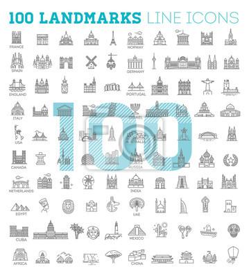 Naklejka Prosta liniowa wektor zestaw ikon reprezentujących globalne atrakcje turystyczne i miejsca podróży na wakacje