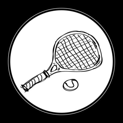 Naklejka Proste doodle z rakietą tenisową
