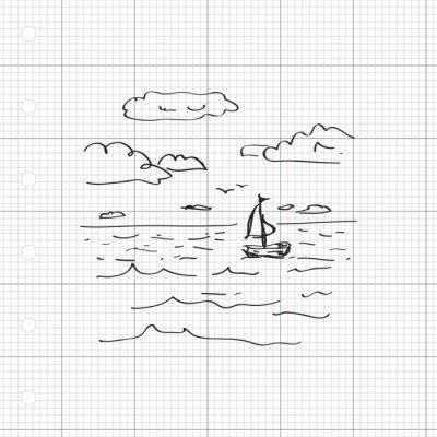 Naklejka Proste doodle żaglówce