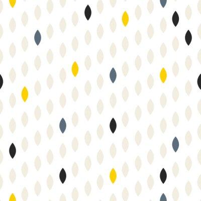 Naklejka Proste polka kropka kropla szary i żółty kształt szwu wzorca. Wektor geometryczne wiersz tła. Polkadot wzór. Przerywana skandynawskich dekoracyjnego.