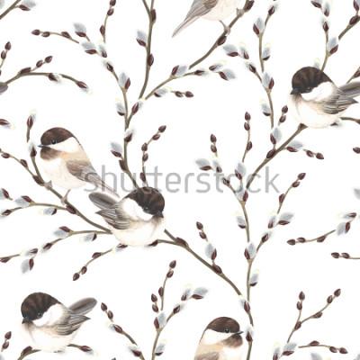 Naklejka Przechowywać wzór wierzbowe gałąź i ptaki Pokrywający Chickadee, ilustracji na białym tle w różnych akwareli stylu.
