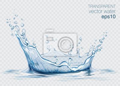 Naklejka Przejrzysty wektor wody pluśnięcie i fala na lekkim tle