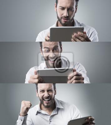 Przekonana, biznesmen z cyfrowym tablecie, collage
