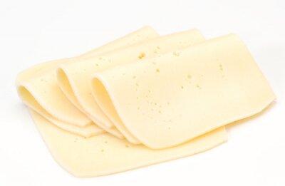Naklejka przetargowe plasterki sera na białym bazy