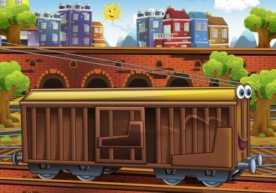 Naklejka Przewóz ładunków kreskówki - stacja kolejowa - ilustracja