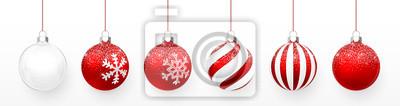 Naklejka Przezroczysta i czerwona piłka Boże Narodzenie z zestawem efektu śniegu. Xmas szklana piłka na białym tle. Wakacyjny szablon dekoracji. Ilustracji wektorowych