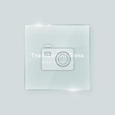 Naklejka Przezroczyste szkło wektora kształt kwadratowy. Geometryczne kryształowo przejrzysty szkło abstrakcyjny element projektu z przezroczystością.