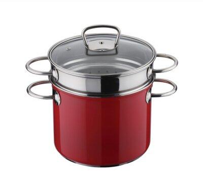 Przybory kuchenne: czerwony garnek