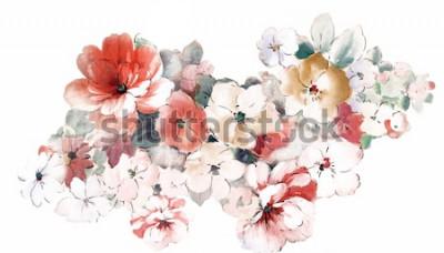 Naklejka Przynieś ciepłe kwiaty, wzór sztuki liści i kwiatów