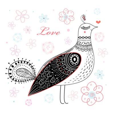 Naklejka ptak graficzny miłość