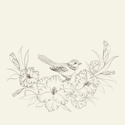 Naklejka Ptak siedzi na tęczówki kwiat.