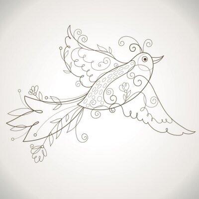 Naklejka Ptak z elementami kwiatów