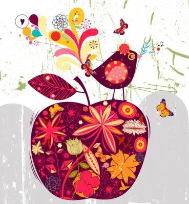 Naklejka ptaka i jabłko