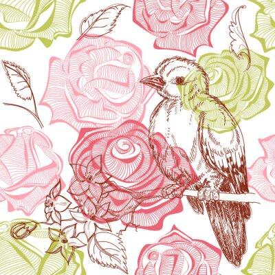 Naklejka Ptaki i kwiaty bez szwu