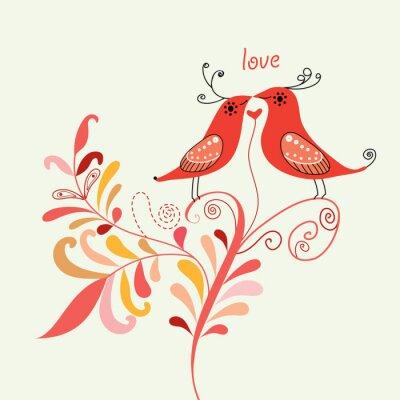 Naklejka ptaki miłości